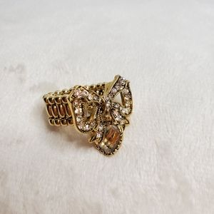 Betsey Johnson Stretch Bow Heart Ring